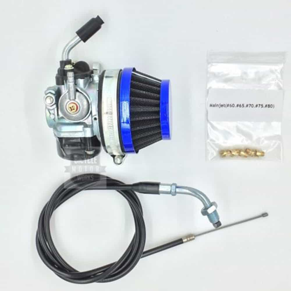 Blue Racing Carburetor for Motorized Bicycle 49/66/80cc W/Filter, Cable 5  Jets