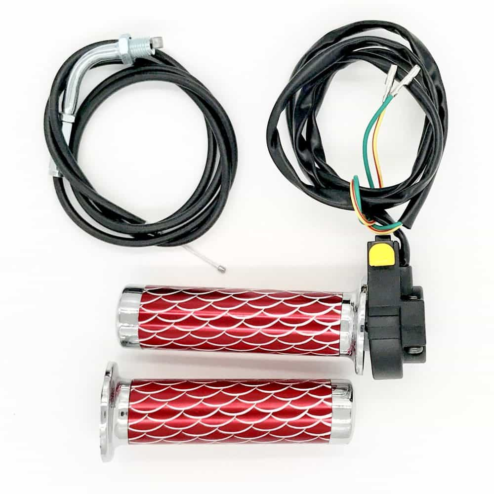 Red Throttle Grips, Kill Switch and Cable